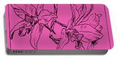 Graphic Orchid On Transparent Background Portable Battery Charger