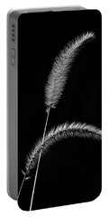 Grass In Black And White Portable Battery Charger