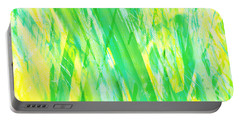 Portable Battery Charger featuring the painting Grassy Abstract In Yellow Green Aqua White by Menega Sabidussi