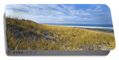 Grassy Sand Dunes Overlooking The Beach Portable Battery Charger