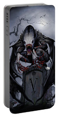Portable Battery Charger featuring the digital art Graveyard Vampire by Stanley Morrison