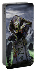 Portable Battery Charger featuring the digital art Graveyard Zombie by Stanley Morrison