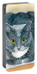 Portable Battery Charger featuring the painting Gray And White Cat With Green Eyes by Carlin Blahnik CarlinArtWatercolor