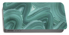 Gray Blue Waves Organic Abstract For Interior Decor X Portable Battery Charger