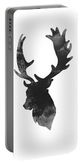 Gray Deer Art, Deer Giclee Fine Art Print, Deer Head Illustration Portable Battery Charger