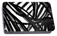Portable Battery Charger featuring the painting Gray Lines by Joan Reese
