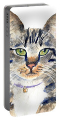 Gray Tabby Cat Watercolor Portable Battery Charger