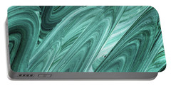 Gray Teal Waves Organic Abstract For Interior Decor Xi Portable Battery Charger