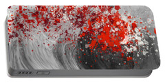 Gray Wave Turning Red Portable Battery Charger by Jessica Wright