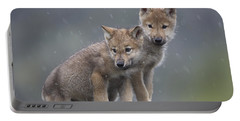 Gray Wolf Canis Lupus Pups In Light Portable Battery Charger