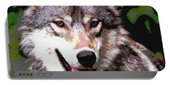 Gray Wolf Portable Battery Charger by Charles Shoup