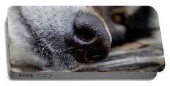 Portable Battery Charger featuring the photograph Gray Wolf Nose by Teri Virbickis