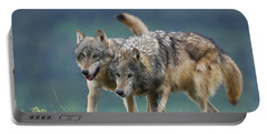 Gray Wolves Portable Battery Charger by Tim Fitzharris