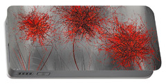Grayish Vibrant Blooms- Red And Gray Modern Art Portable Battery Charger