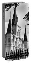 Grayscale St. Louis Cathedral Portable Battery Charger