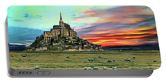 Grazing At Mont Saint Michel Portable Battery Charger