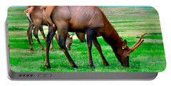 Portable Battery Charger featuring the photograph Grazing Elk by Sadie Reneau