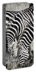 Grazing Zebras Close Up Portable Battery Charger by Darcy Michaelchuk