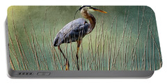 Great Blue At The Beach Portable Battery Charger