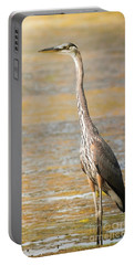 Portable Battery Charger featuring the photograph Great Blue At The Flats by Robert Frederick