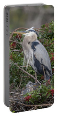 Great Blue Heron And Nestling Portable Battery Charger