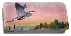Great Blue Heron At Dawn Portable Battery Charger