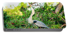 Great Blue Heron At Rookery Portable Battery Charger