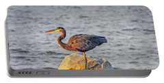 Great Blue Heron At Sunset Portable Battery Charger