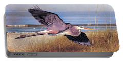 Great Blue Heron At The Beach Portable Battery Charger