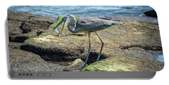 Great Blue Heron Catching A Blue Crab On Chesapeake Bay Portable Battery Charger