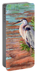 Great Blue Heron In A Marsh Portable Battery Charger