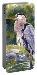 Great Blue Heron In A Stream Portable Battery Charger