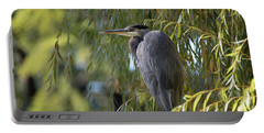 Great Blue Heron In A Willow Tree Portable Battery Charger by Keith Boone