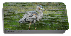 Great Blue Heron In Pond Portable Battery Charger