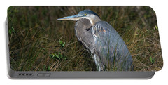 Great Blue Heron In The Grass Portable Battery Charger