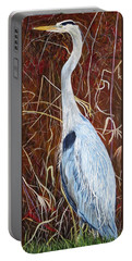Great Blue Heron Portable Battery Charger by Marilyn  McNish