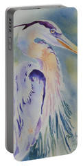Portable Battery Charger featuring the painting Great Blue Heron by Mary Haley-Rocks
