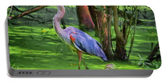 Great Blue Heron Mixed Media Digital Art Portable Battery Charger