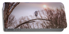Great Blue Heron On A Dead Tree Branch At Sunset Portable Battery Charger