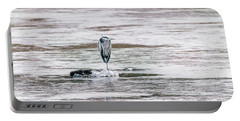 Great Blue Heron On A Frozen Lake Portable Battery Charger