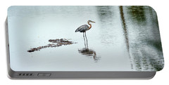 Great Blue Heron On Chesapeake Bay Pond Portable Battery Charger