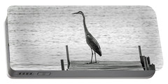 Great Blue Heron On Dock - Keuka Lake - Bw Portable Battery Charger