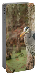 Great Blue Heron On Guard Portable Battery Charger