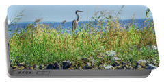Great Blue Heron On Jetty Portable Battery Charger