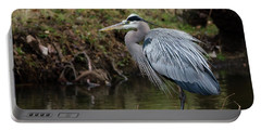 Portable Battery Charger featuring the photograph Great Blue Heron On The Watch by George Randy Bass
