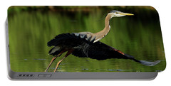 Great Blue Heron - Over Green Waters Portable Battery Charger