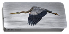 Great Blue Heron Over Still Waters Portable Battery Charger