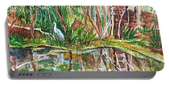 Great Blue Heron Pond Reflections  Portable Battery Charger by Ellen Levinson