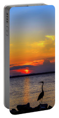 Great Blue Heron Silhouette Portable Battery Charger