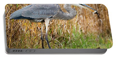 Great Blue Heron Struggling With Lunch Portable Battery Charger